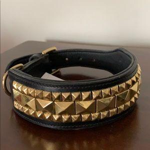 Brass Stud Leather Dog Collar